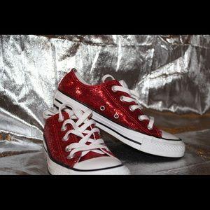 Red glitter converse